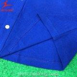 Chemise de polo bleue de mode faite sur commande du coton 100% de Healong