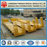 rimorchio giallo di 3-Axles Lowbed semi con la rampa