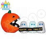 Abóbora inflável com os suportes bonitos de Halloween do fantasma para a decoração do gramado