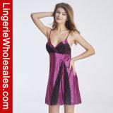 Эмулирования женское бельё Babydoll женщин Sleepwear платья Nightgown расчалок сексуального Silk