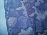 Jacquard Camouflage Design Indigo Denim Fabric
