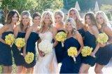 Één Partij Prom die van het Kristal van de Chiffon van de Schouder Blauwe de Korte MoslimKleding van het Bruidsmeisje gelijk maken