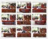 Reversible tradicional L mesa executiva de mogno exclusiva com gabinete lateral