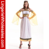 Costume blanc de fantaisie de princesse Long Dress Veille de la toussaint Party Cosplay de la Reine de l'Egypte de Ladie