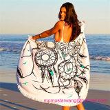 最上質100%年の綿が付いている円形の円のビーチタオル