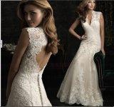 2015 robes de mariage nuptiales de nouveau de sirène d'Étage-Longueur lacet de V-Cou (ALSW012)