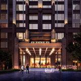 Representación de la opinión de la noche de edificios residenciales con el trabajo maravilloso
