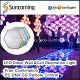 Painel artístico do diodo emissor de luz da parede do efeito da visão 3D decorativa interna/fundo do teto