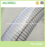 Manguito industrial del tubo del conducto del resorte espiral del alambre de acero del PVC de la hélice flexible antiestática plástica del polvo