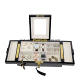 Случай хранения коробки & устроителя вахты слуги Finsh 0Nисполнительный высокой черноты лоска деревянный & ювелирных изделий Cufflink с замком и ключом