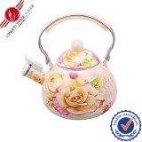 Enamel que silba Teapot con Bakelite Handle