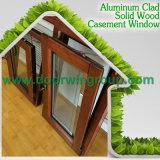 Окно наклона и поворота древесины дуба алюминиевое, система алюминиевого окна внутренного отверстия деревянная многопунктовая фиксируя для домашней обеспеченности