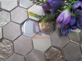 六角形の軽い金カラーアルミニウム組合せの水晶モザイク・タイル(CFM1029)