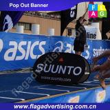 Il tessuto piegante esterno una bandiera della pagina schiocca in su la bandiera per l'evento