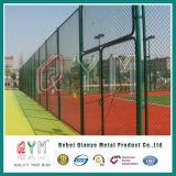 Cerca revestida galvanizada de la conexión de cadena del PVC de la barrera de la cerca de la conexión de cadena/de los campos de deportes