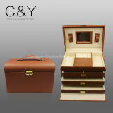 Caixa de armazenamento de couro luxuosa da jóia do plutônio de Croco
