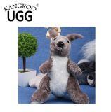 Jouets animaux de peluche de basane réelle de 100% pour le kangourou de gosses