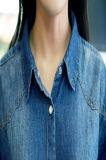 Camicia-Indaco lungo del denim del manicotto