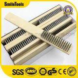 Cepillo de alambre de acero de cobre amarillo de la maneta de la herramienta de madera de la limpieza