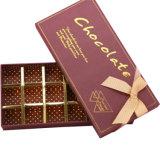 Modificar el rectángulo de regalo para requisitos particulares rígido del chocolate de papel de la cartulina con la cinta