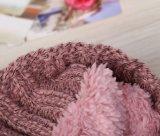 Promocional de punto de acrílico Beanie sombreros gorras con pompones de hilo