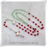 Rosario colorato della glassa con l'elemento religioso della croce del rosario (IO-cr222)