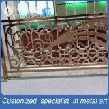 Balustrade en acier d'or Creuse-à l'extérieur personnalisée des escaliers 304# d'entrée d'hôtel de luxe