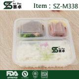 Wegwerf3 Fach-Plastiknahrungsmittelmittagessen-Kasten mit Kappen (850ml)