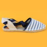 Striped женщин причинные шнуруют вверх белые и голубые сандалии Espadrilles холстины