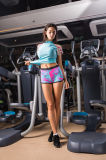 Sportswear пригодности Tracksuit Sleeve+3/4 Shotrs женщины печати шелковой ширмы короткий