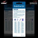 Silberne Tasten-Zellen-Uhr-Batterie des Oxid-370 Sr920
