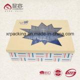 عادة غضّن رفاهية [كرفت] ورق مقوّى هبة ورقيّة يعبر صندوق مع علامة تجاريّة طبعة