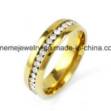 Geplateerde Ring van het Roestvrij staal van de Stenen van de Rij van de Juwelen van Shineme de Dubbele Goud (CZR2571)