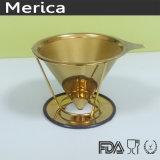 ステンレス鋼のペーパーレスの金はコーヒーのフィルターに注ぐ