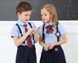 Форма начальной школы для мальчиков и рубашки девушок голубой с поясом и Tie