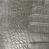Покрынная кожа PVC серебряного крокодила синтетическая для сумок (W195)