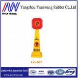 Cones amarelos e vermelhos do lote de estacionamento da estrada do PVC do equipamento de segurança