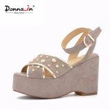(Donna-в) сандалии платформы замши малыша женщин высокой пятки драгоценности способа