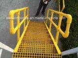 Barandilla de la fibra de vidrio, sistema de pasamano de la mano de FRP/GRP, conectores del tubo, cercando escaleras