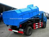 6 ruedas 125HP 6 toneladas de carro 6000 L carro del gancho de leva de basura del rodillo del brazo