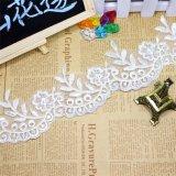 Merletto floreale d'avvolgimento di nylon del merletto del commercio all'ingrosso 8cm della fabbrica del ricamo di riserva di larghezza del poliestere del ricamo di immaginazione netta della guarnizione per l'accessorio dell'abito & il vestito da cerimonia nuziale nuziale