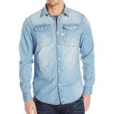 Camice lunghe dei jeans del cotone delle camice del manicotto del denim degli uomini dell'OEM della fabbrica