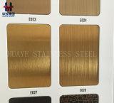GoldEdelstahl-Farben-Blatt-Panel aufgetragener Haarstrichspiegel beendet worden