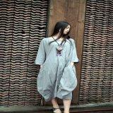 2017 alineadas ocasionales de Mori del lino del traje del otoño de las mujeres del diseño del paño del cáñamo del color de la personalidad del presagio de las mujeres originales de lino de la alineada más talla