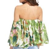 Fiore casuale sexy delle donne di modo stampato fuori dalla camicetta della spalla