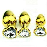 5PCS/Lot熱い販売法の金ハート形のステンレス鋼の水晶宝石類の肛門のバットプラグの性は普通サイズ35mm x 80mm GS0314をもてあそぶ