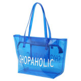 Sac d'emballage bleu transparent imperméable à l'eau de PVC (A090)