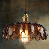 Innenbeleuchtung, die hängende Lampe mit transparentem Glasfarbton hängt