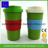 再使用可能なタケファイバーのコーヒーカップのシリコーンのふた、シリコーンゴムのコップカバー