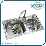 Fregadero de cocina inoxidable de la mancha de óxido del fregadero doble (BS-971)